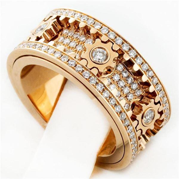 New 18K Rose Gold 2.75 ctw Spinning Gear Diamond Ring
