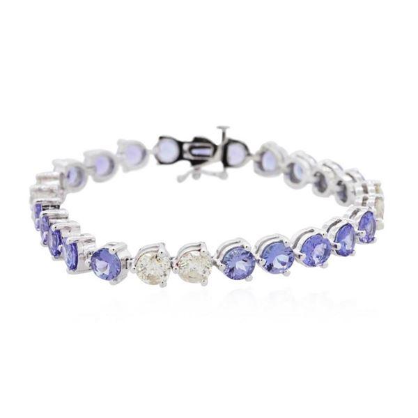 14KT White Gold 14.60 ctw Tanzanite and Diamond Bracelet