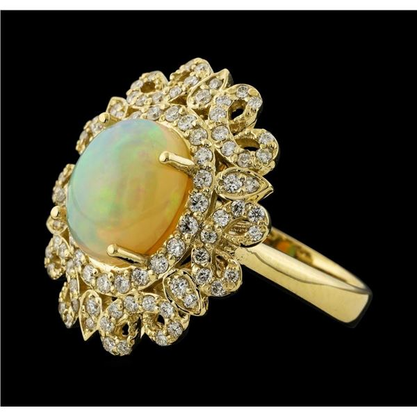 2.85 ctw Opal and Diamond Ring - 14KT Yellow Gold