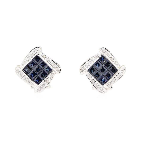 2.21 ctw Sapphire And Diamond Earrings - 14KT White Gold
