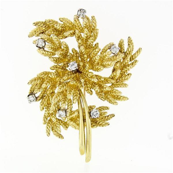 Vintage 18K Yellow Gold 0.65 ctw Diamond Detailed Textured Leaf Flower Brooch Pi