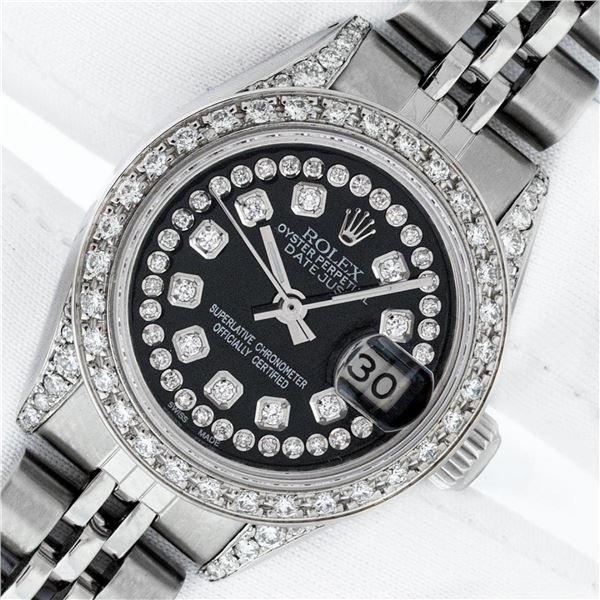 Rolex Ladies Stainless Steel 26MM Black Diamond Lugs Datejust Wristwatch Service