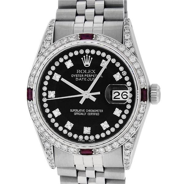 Rolex Mens SS Black String Diamond Lugs & Ruby Oyster Perpetaul Datejust