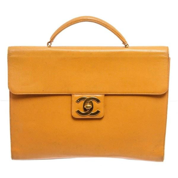Chanel Yellow Caviar Leather Business Messenger Bag