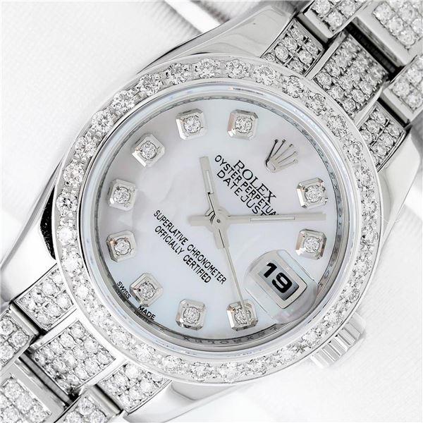 Rolex Ladies Stainless Steel Quickset Mother Of Pearl Full Diamond Datejust Wris
