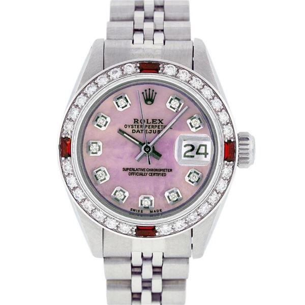 Rolex Ladies Stainless Steel Pink MOP Diamond & Ruby Datejust Wristwatch 26MM