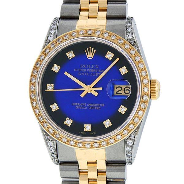 Rolex Mens 2 Tone Blue Vignette Diamond Lugs Datejust Wristwatch