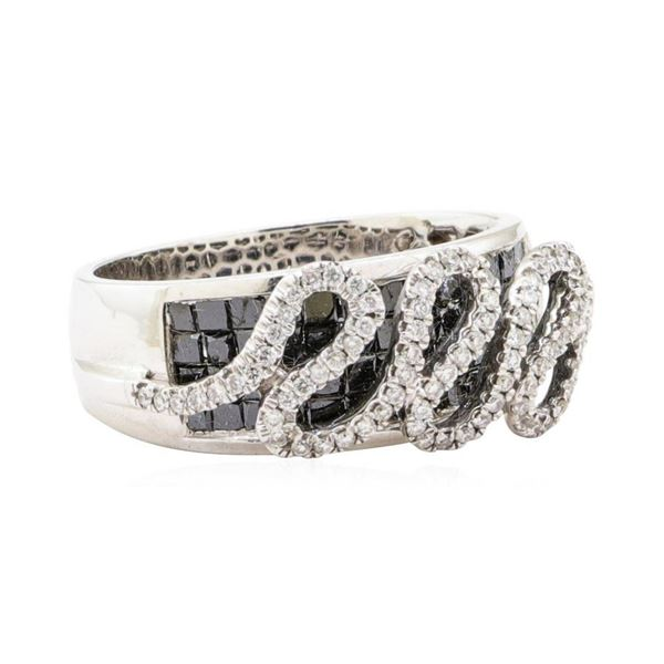 1.68 ctw Black and White Diamond Ring - 14KT White Gold