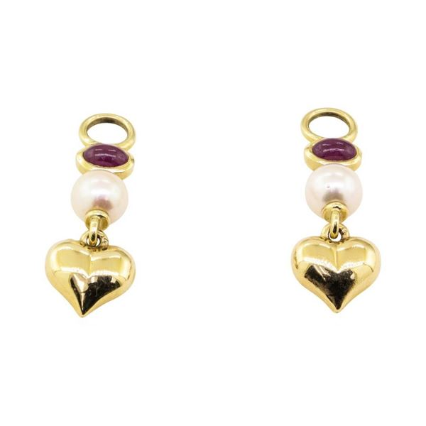 1.00 ctw Ruby and Pearl Earring Enhancers - 14KT Yellow Gold