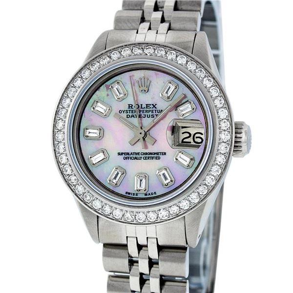 Rolex Ladies Stainless Steel Pink MOP Baguette Diamond Datejust Wristwatch