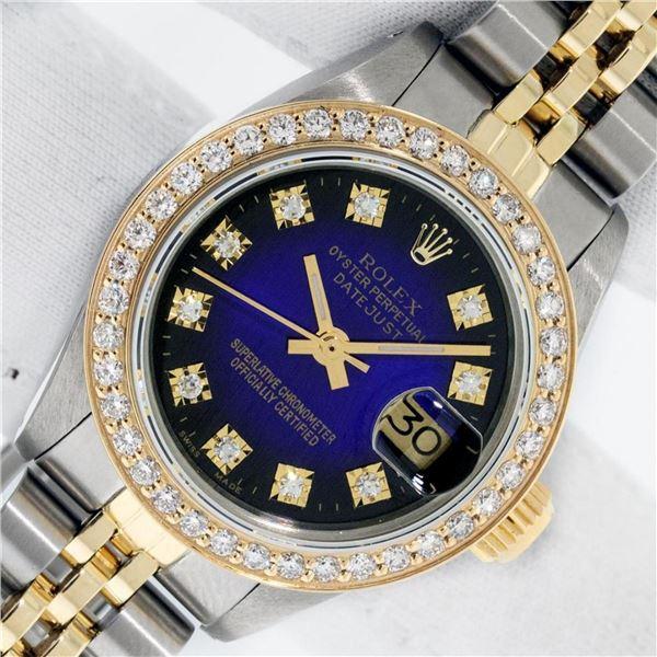 Rolex Ladies 2 Tone Blue Vignette VS Diamond Oyster Perpetual Datejust Wristwatc