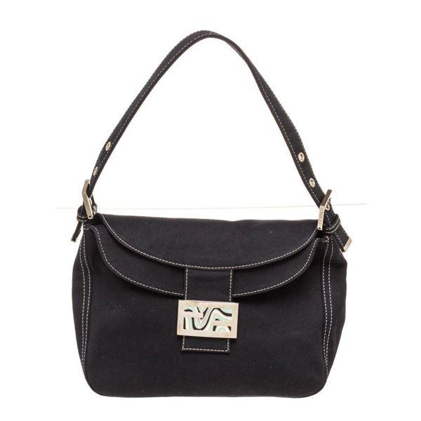 Fendi Black Denim Mamma Baguette Hobo Bag