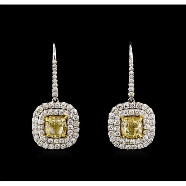 18KT Two-Tone Gold 5.81 ctw Diamond Earrings