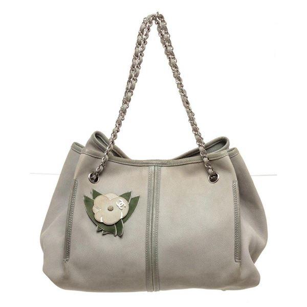 Chanel Gray Leather Drawstring Bucket Bag