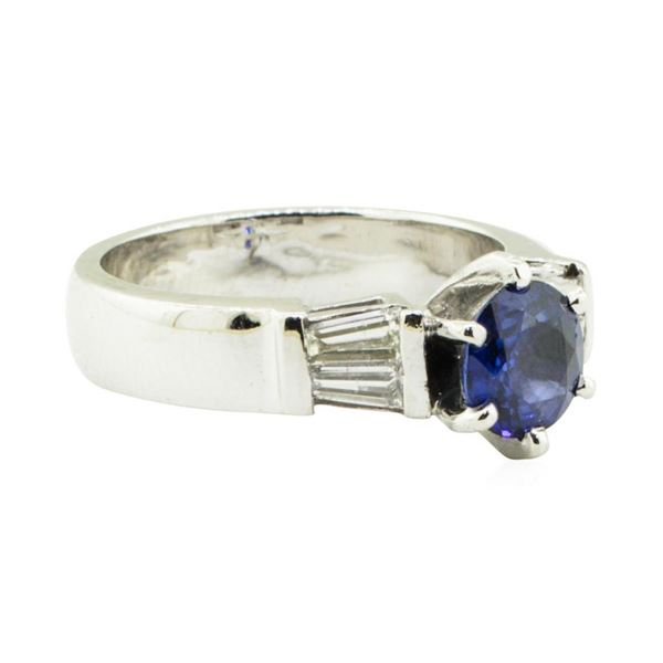 1.62 ctw Round Brilliant Blue Sapphire And Diamond Ring - Platinum