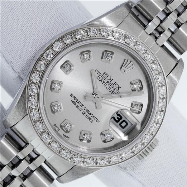 Rolex Ladies Stainless Steel Silver Diamond 26MM Oyster Perpetual Datejust With