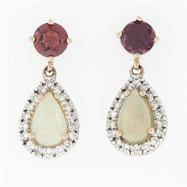 14K Gold 1.7 ctw Rhodolite Garnet Diamond & Pear Shaped Opal Drop Dangle Earring