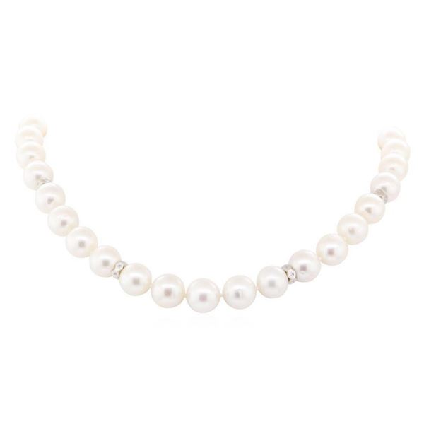 0.71 ctw Diamond and South Sea Pearl Necklace - 14KT White Gold