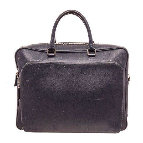 Prada Blue Saffiano Leather Business Bag