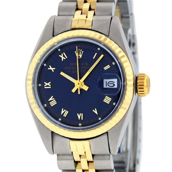 Rolex Ladies 2 Tone Blue Roman Fluted Date Jubilee Band Wristwatch