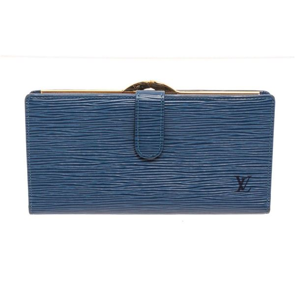 Louis Vuitton Blue Epi Leather Continental French wallet