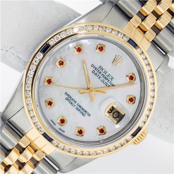 Rolex Mens 2 Tone MOP Ruby Diamond Channel Set Datejust 36MM Oyster Perpetual Wr