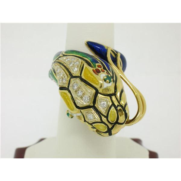 Vintage 18K Gold Multi Color Enamel Diamond & Emerald Large Snake Head Wrap Ring