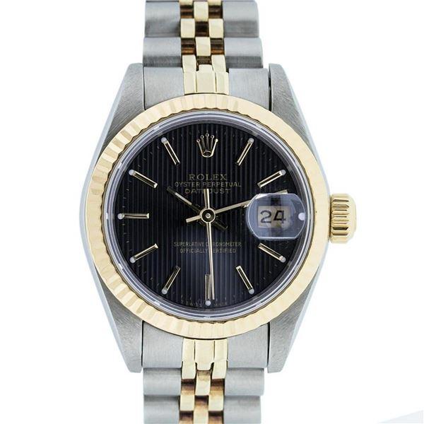 Rolex Ladies 2 Tone Factory Black Tapestry Datejust Wristwatch