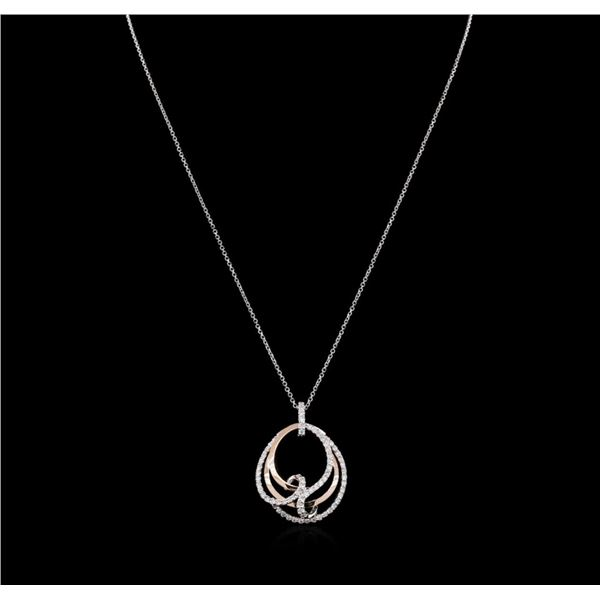 0.80 ctw Diamond Pendant With Chain - 14KT Two-Tone Gold