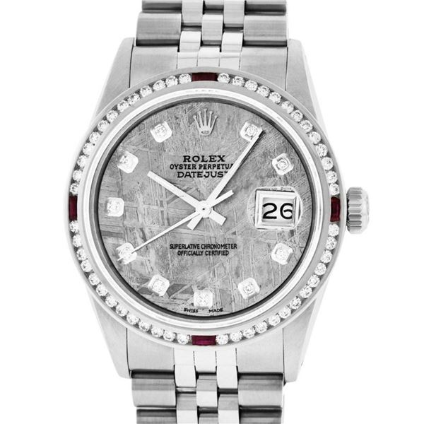 Rolex Mens SS Meteorite Diamond & Ruby Channel Set Diamond Datejust 36MM
