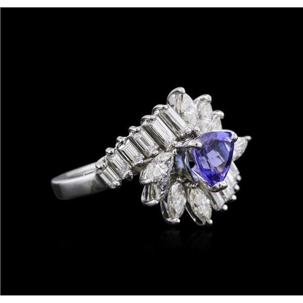 Platinum 1.07 ctw Tanzanite and Diamond Ring