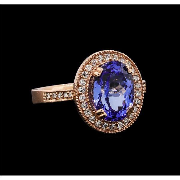 14KT Rose Gold 3.37 ctw Tanzanite and Diamond Ring
