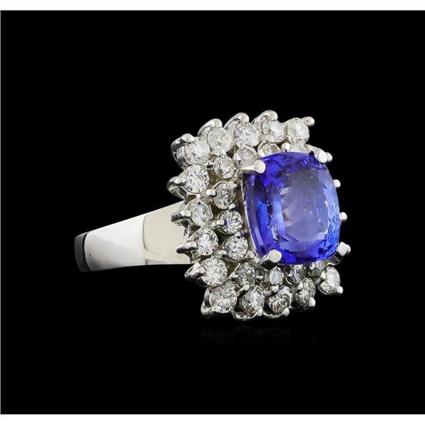 14KT White Gold 4.33 ctw Tanzanite and Diamond Ring