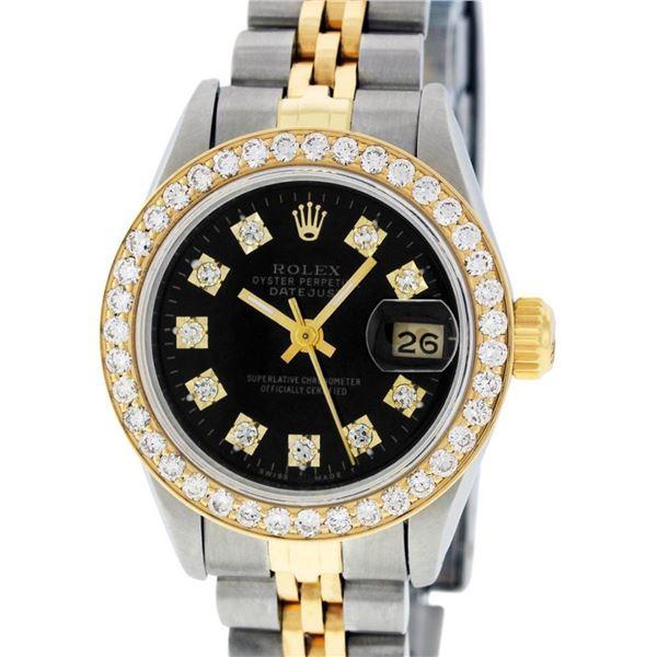 Rolex Ladies 2T 26MM Black Diamond Bezel 1 ctw 18K Yellow Gold Datejust Wristwat