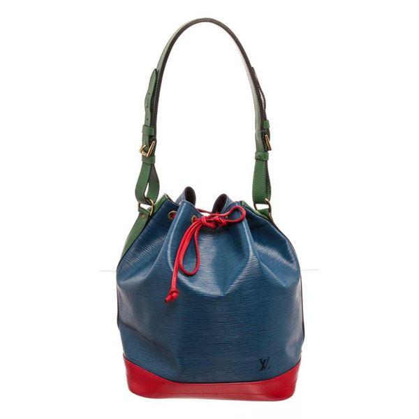 Louis Vuitton Blue Red Epi Leather Noe GM Bucket Bag