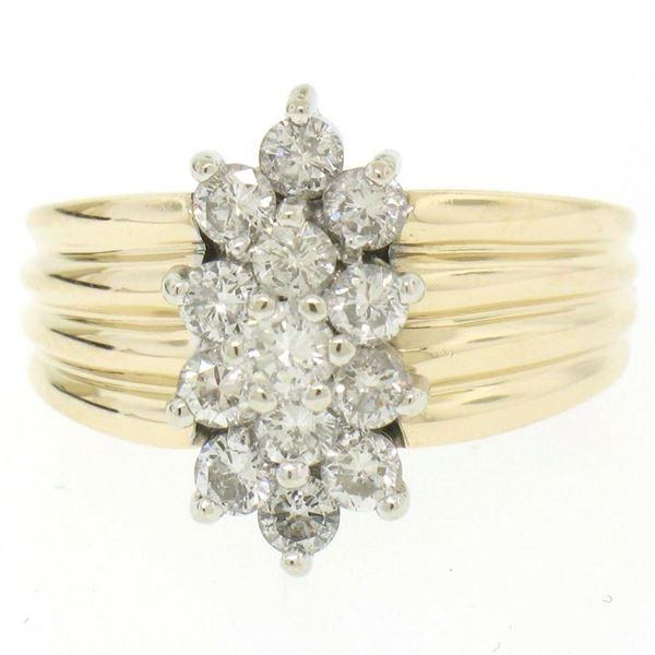 14k Two Tone Gold Diamond .85 ctw Round G VS Diamond Elongated Ribbed Cluster Ri