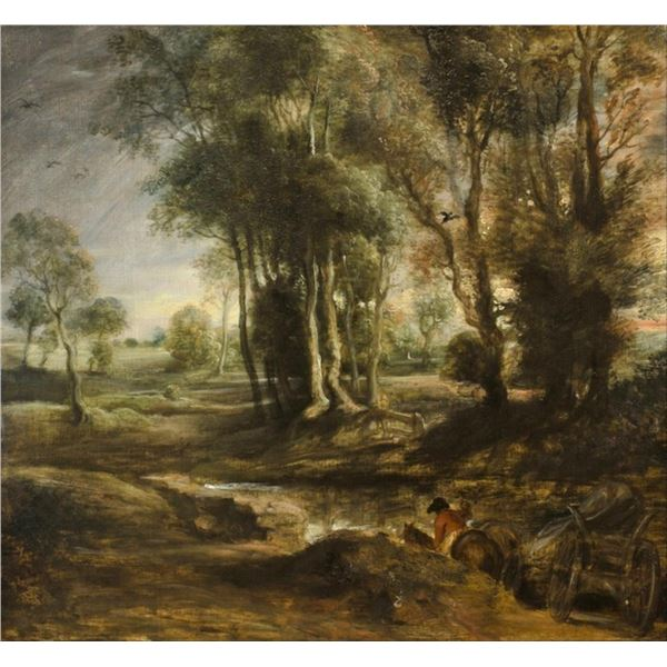 Sir Peter Paul Rubens - Evening Landscape with Timber Wagon