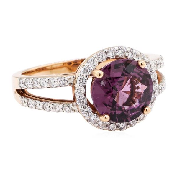 2.94 ctw Round Mixed Lavender Spinel And Round Brilliant Cut Diamond Ring - 14KT
