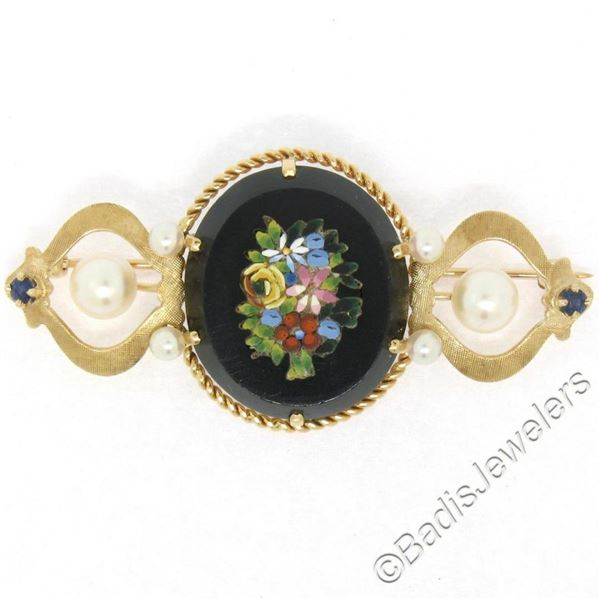 Vintage 14kt Yellow Gold Black Onyx Floral Mosaic Sapphire and Pearl Brooch Pin