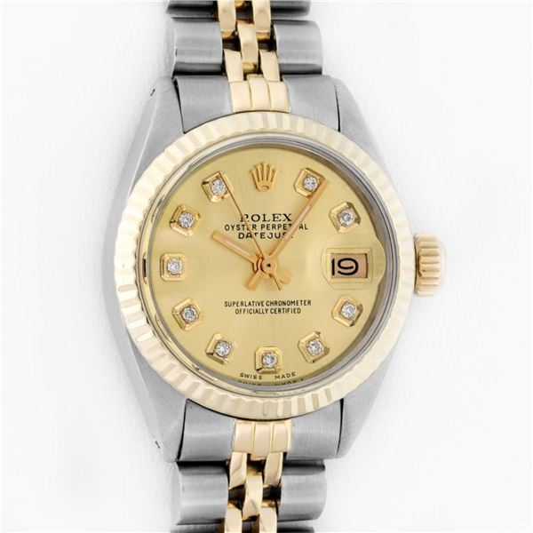 Rolex Ladies 2 Tone Champagne Diamond 26MM Oyster Perpetual Datejust Wristwatch
