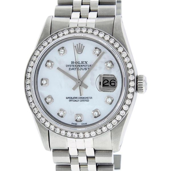 Rolex Mens Stainless Steel Mother Of Pearl Diamond 36MM Oyster Perpetual Datejus