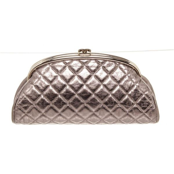 Chanel Silver Patent Timeless Clutch