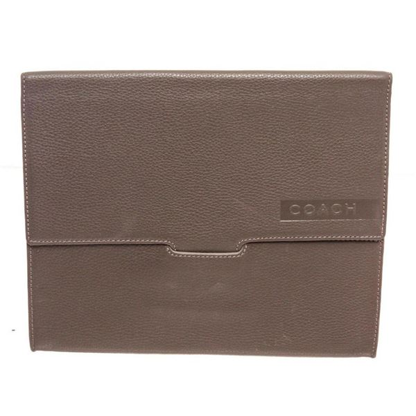 Coach Grey Pebbled Leather Tablet Sleeve