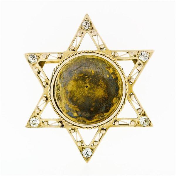Antique 14k Gold .50 ctw European Diamond Star of David Pin Brooch Locket Pendan