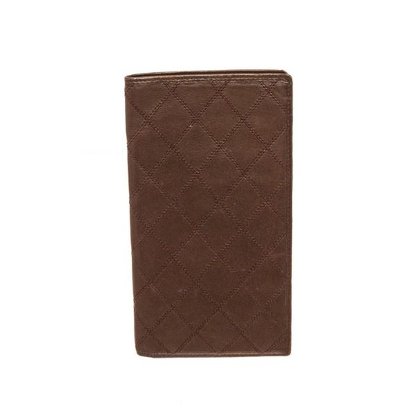 Chanel Brown Leather Stitch Long Wallet