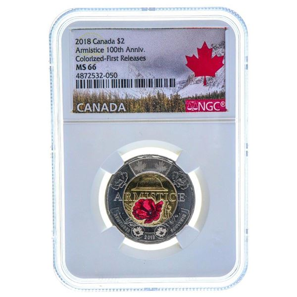 2018 Canada $2 Armistice 100th Anniversary Colorized - First Releases MS 66 NGC