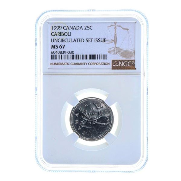 1999 Canada 25C Caribou UNC MS 67 NGC