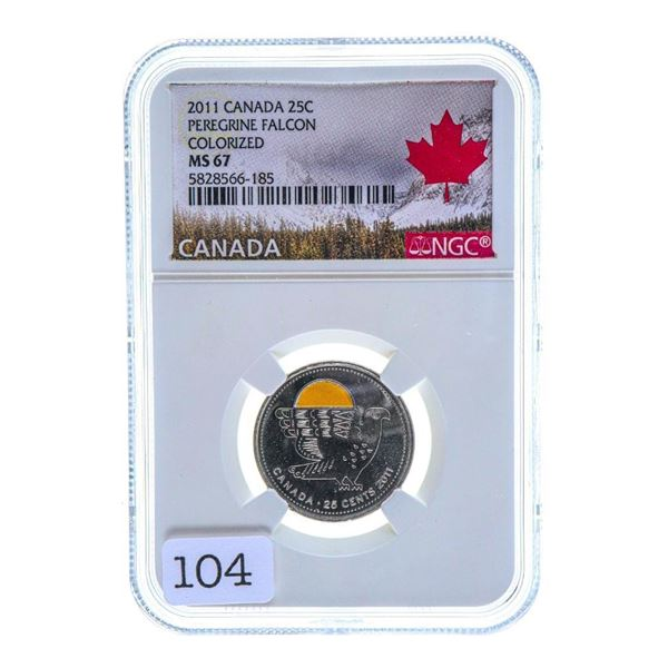 2011 Canada 25C Peregrine Falcon Colorized MS67 NGC
