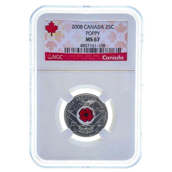 2008 Canada 25C Poppy MS67 NGC