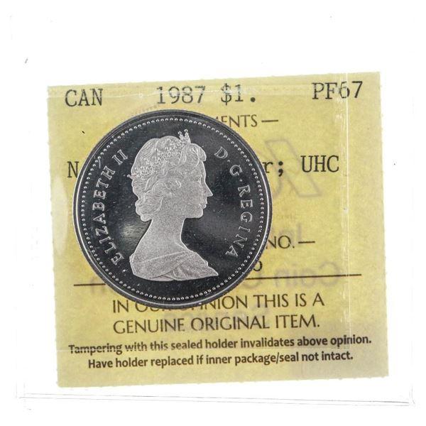 1987 Canada $1 Nickel Voyageur UHC PF67 ICCS